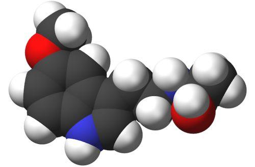 Modello 3D della molecola di melatonina