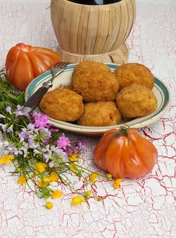 Arancini al forno ai fiori di tarassaco